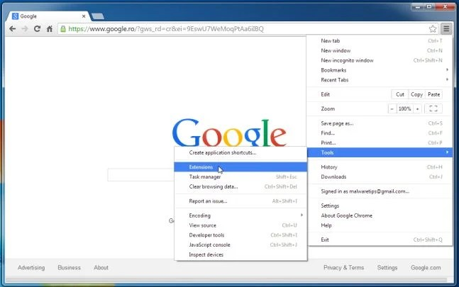[Image: Extensions menu in Chrome]