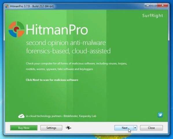 [Image: HitmanPro start-up screen]