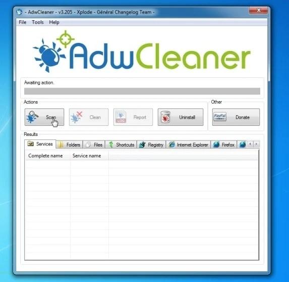 Pulsante di scansione AdwCleaner
