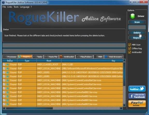 Press Delete to remove malware