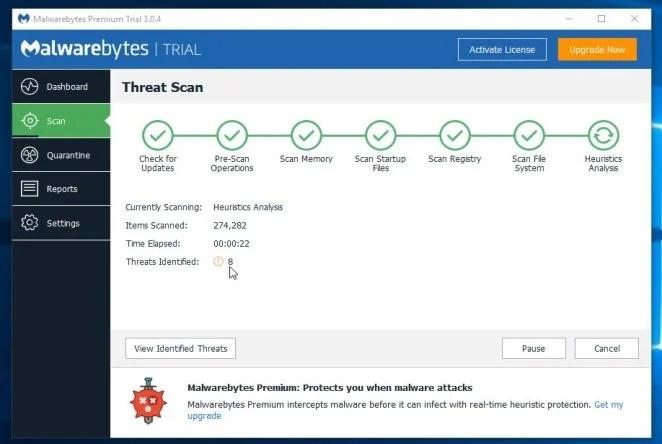Malwarebytes Anti-Malware Scanning for Malware