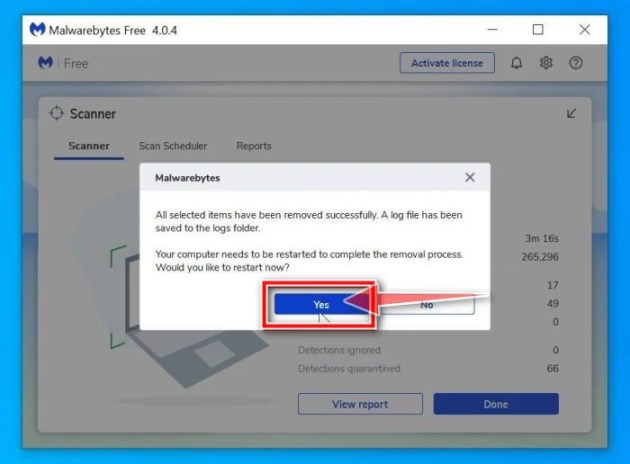 Malwarebytes requesting to restart computer to complete the Scuseami.net removal process