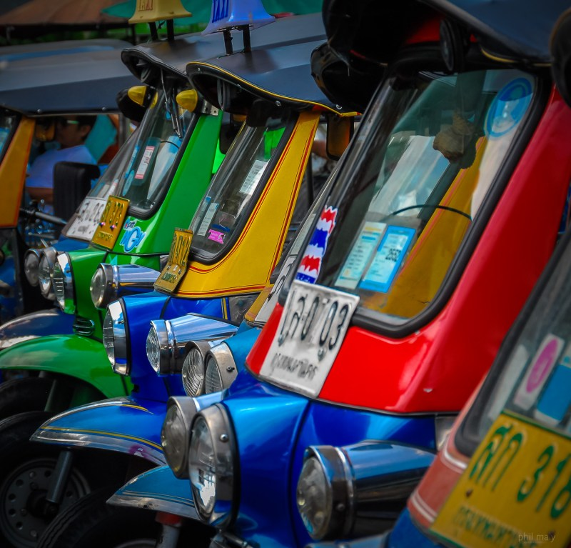 The famous colorful tuktuks of Bangkok in a raw