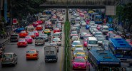 Inner city traffic of Bangkok with its colorful cars