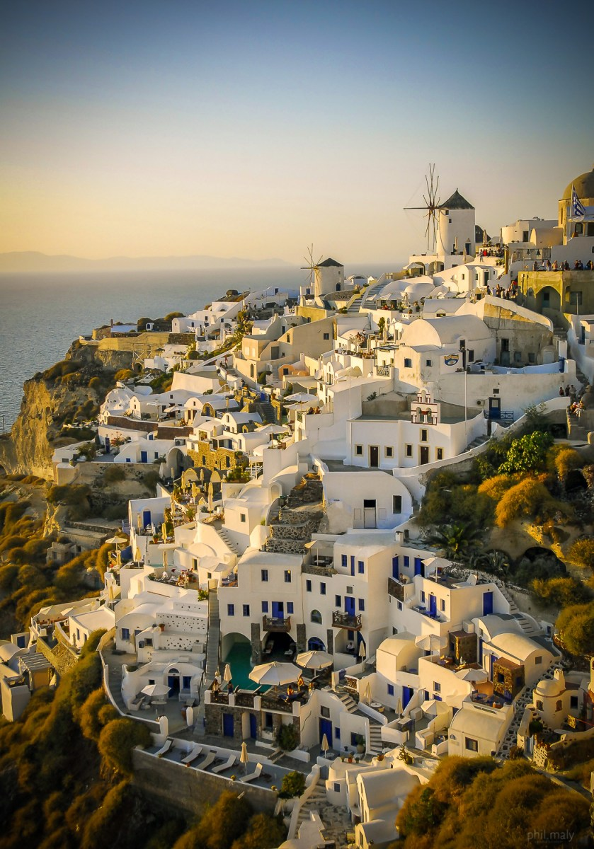 The beautiful city of Oia at sunset