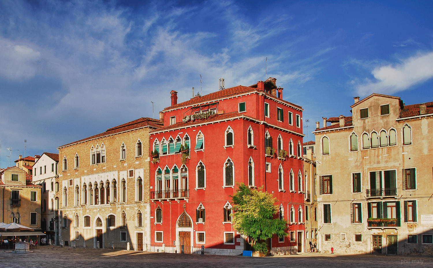 A Venetian palace with red facade