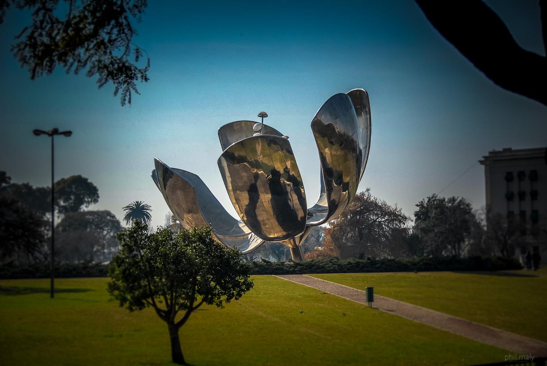 Floralis Generica, the art sculpture in the Plaza de las Naciones Unidas in Buenos Aires