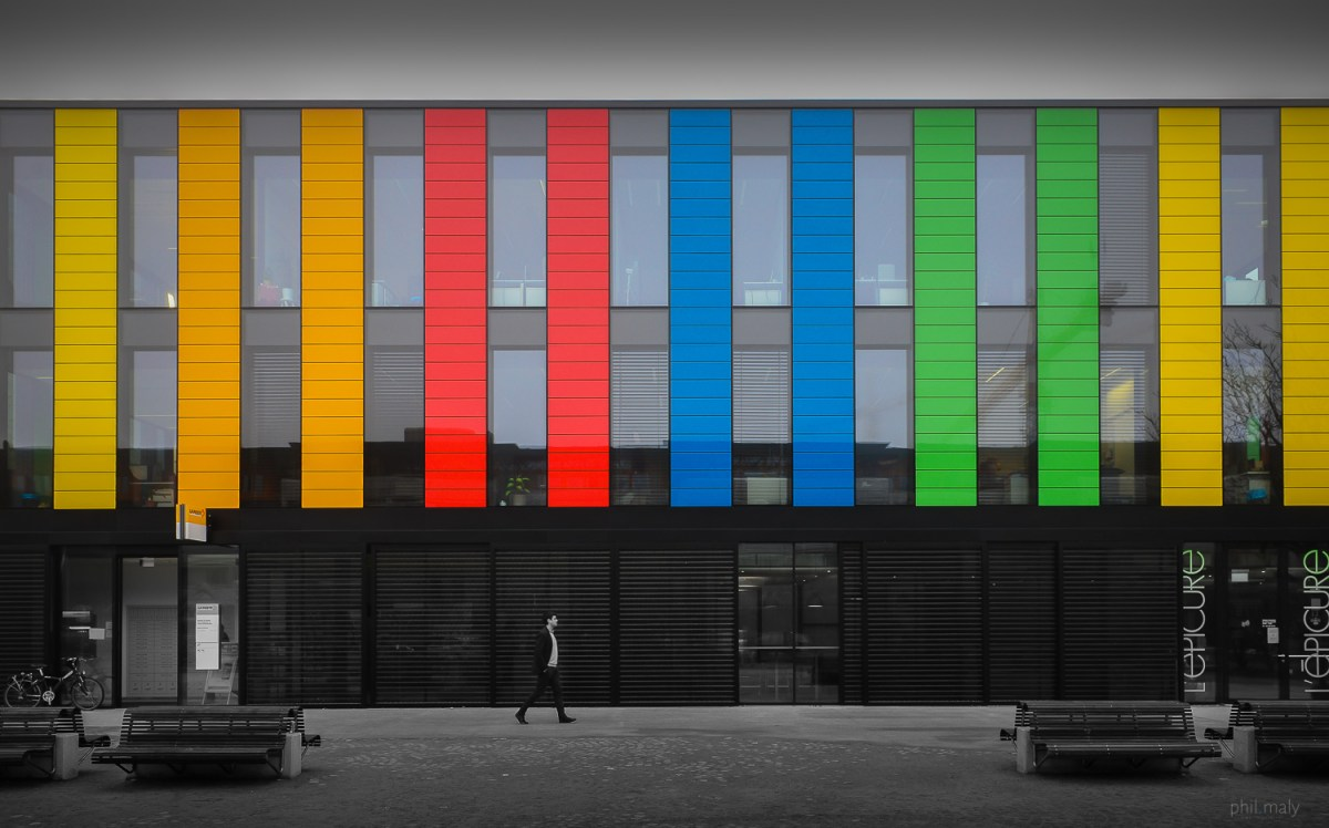 Color stripes on a building at EPFL