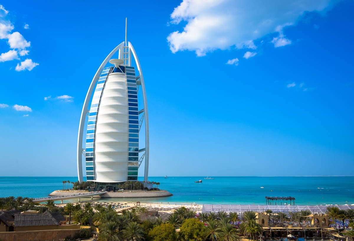 The amazing sail shape of the Burj Al Arab in Dubai against the blue sky