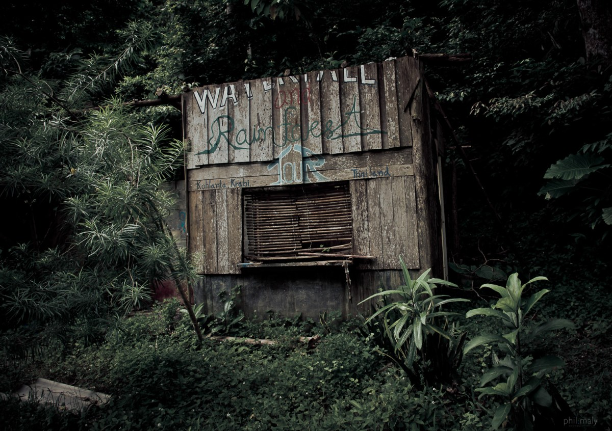 Wooden hut abandoned in the jungle