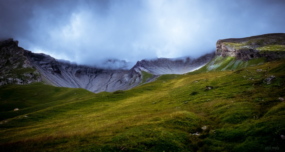 Clouds over the summits of Anzere in Wallis