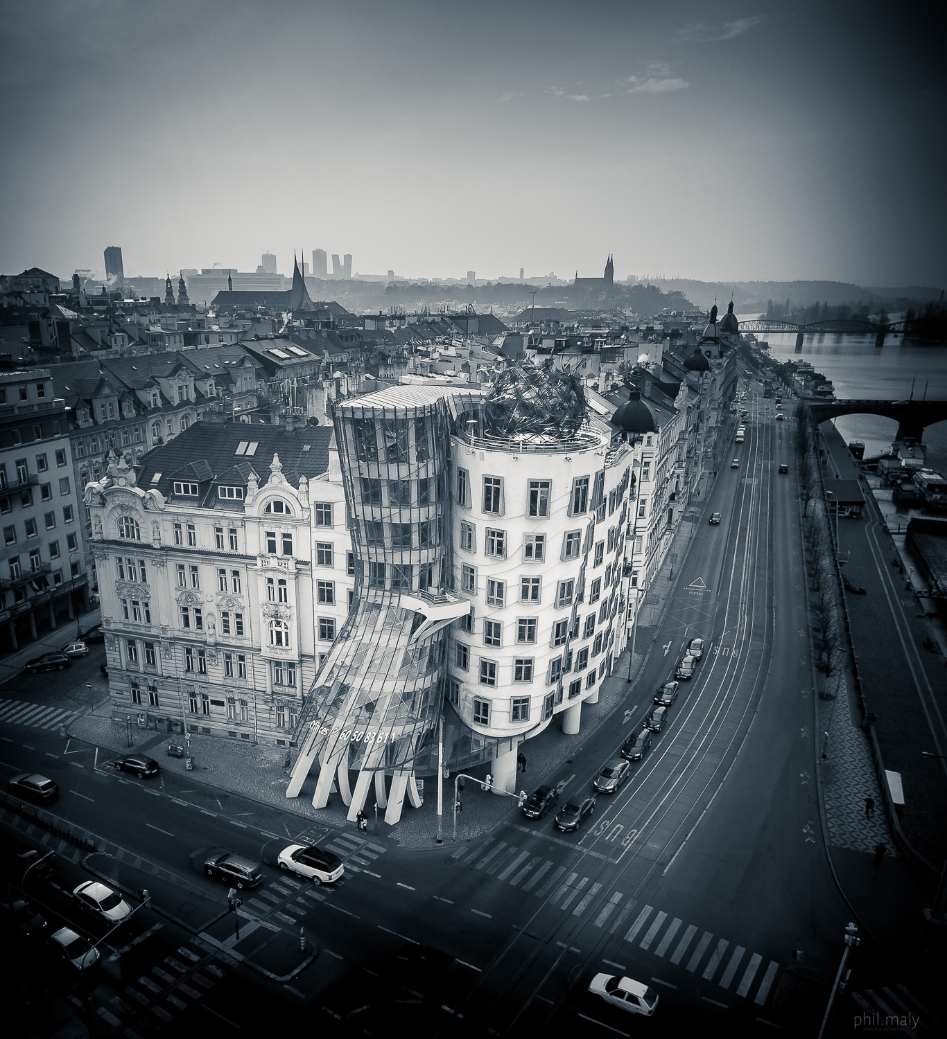 Drone shot of the Dancing House by Frank Gehry