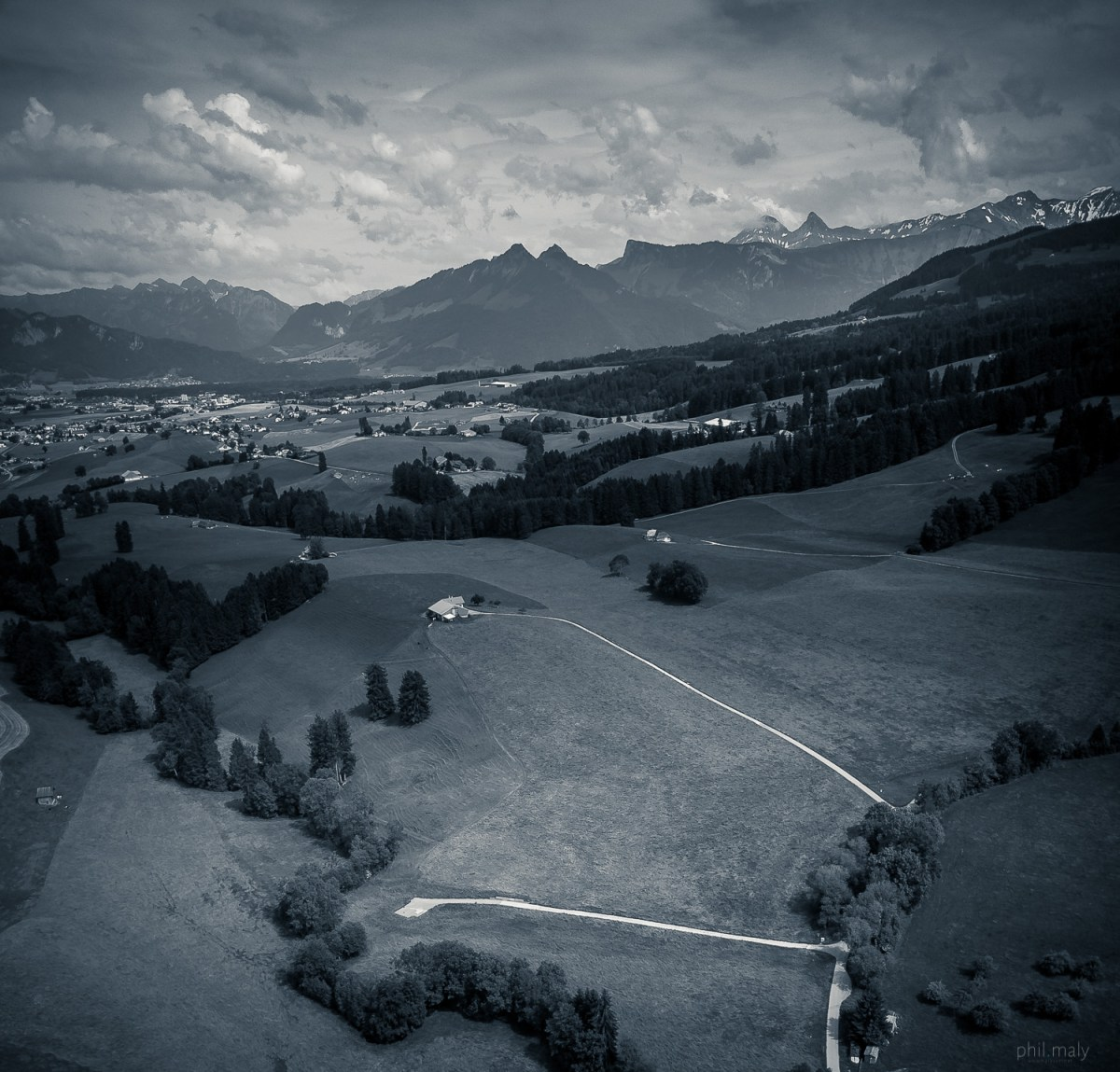 The region of Gruyere shot with a drone from the sky