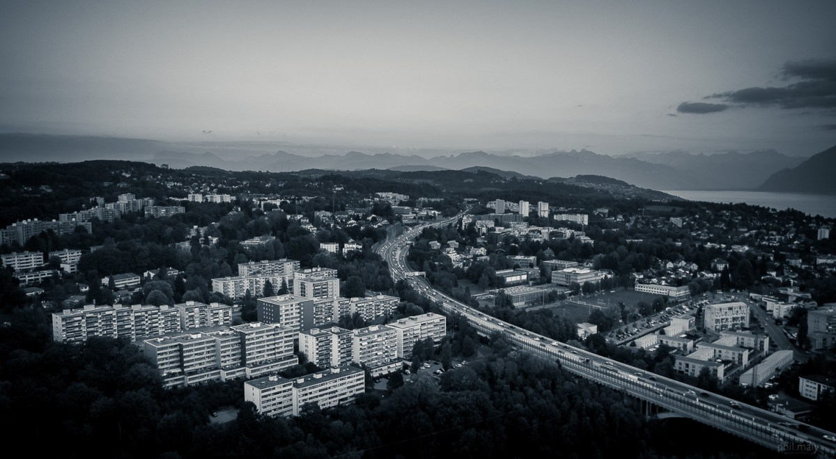 Drone shot of the highway exiting Lausanne