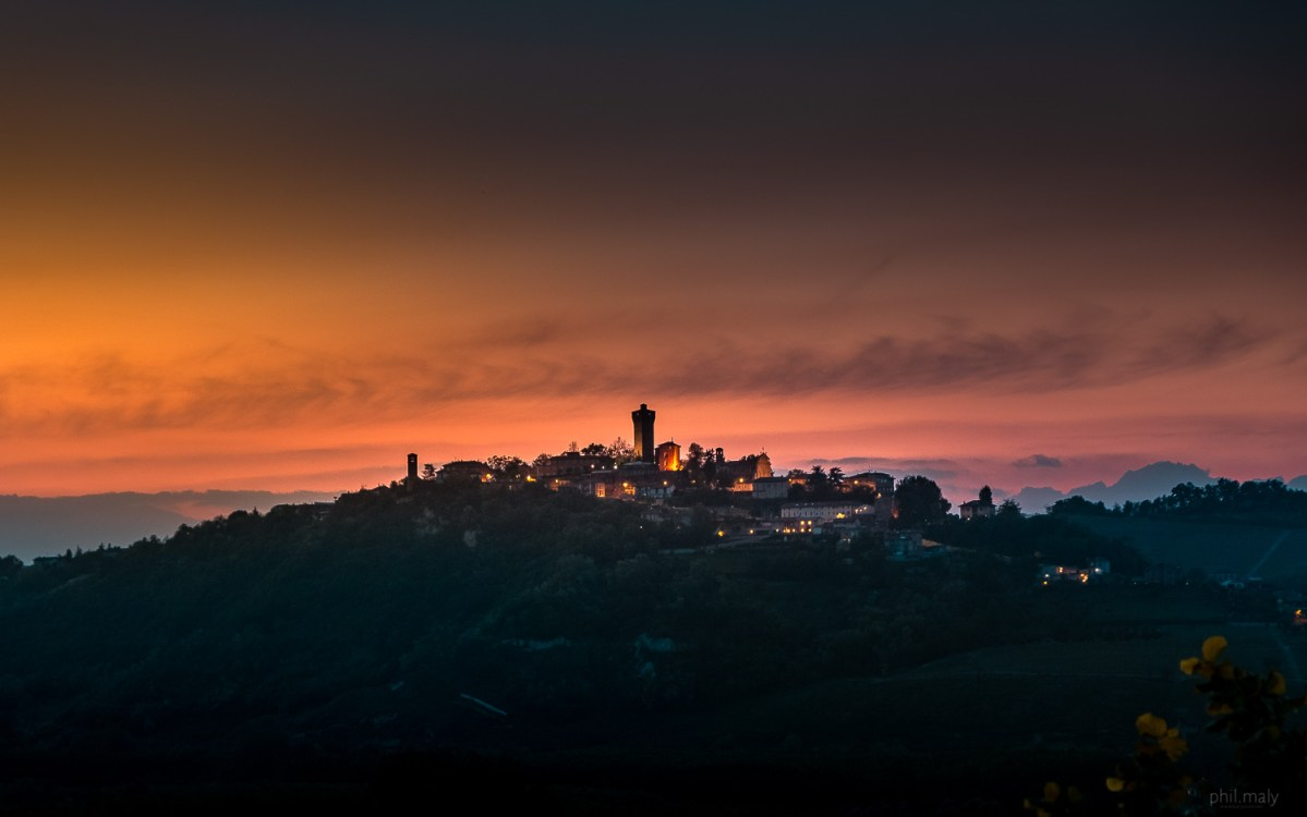 The hill village of Santa Vittoria d'Alba at sunset