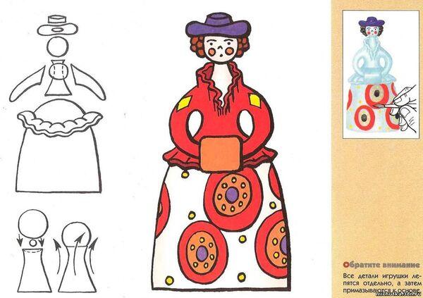 дымковская игрушка картинки для раскрашивания барыни используем широкий угол