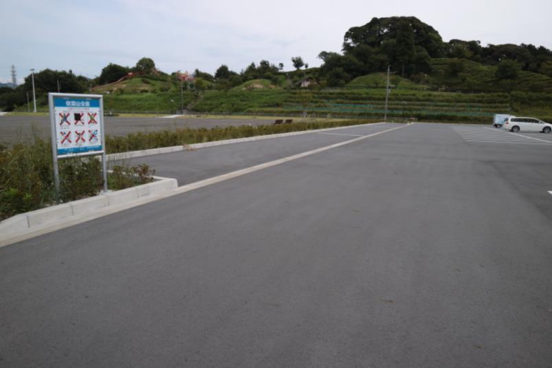 秋葉山公園の拡張部分の駐車場