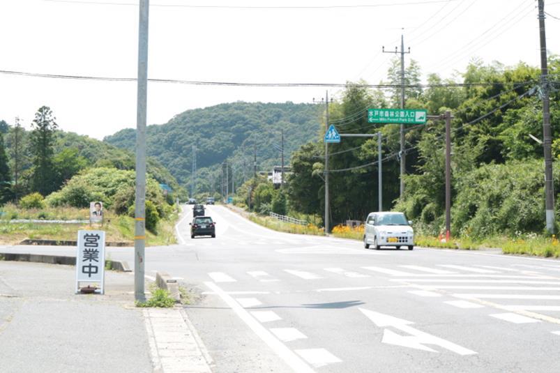 公式サイトに案内される水戸市森林公園の蕎麦屋脇の交差点