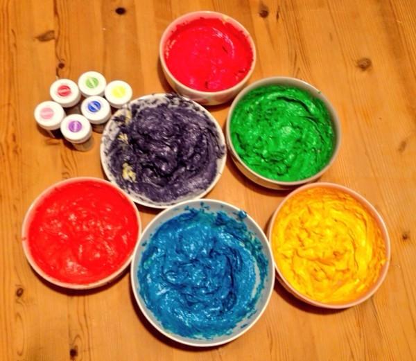 Teif färben Regenbogentorte