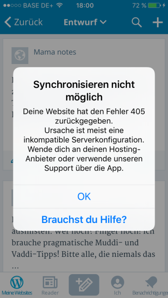 wp app fehlermeldung 405