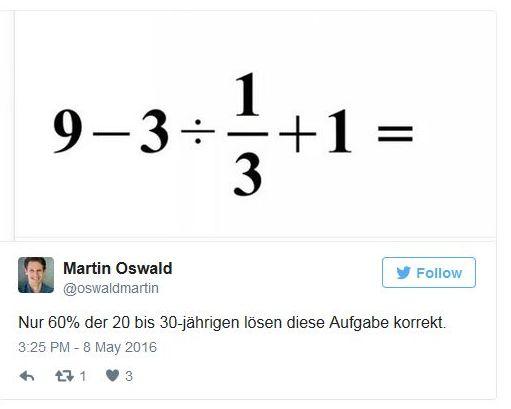 Nur 60% der 20-30jährigen lösen diese Matheaufgabe korrekt