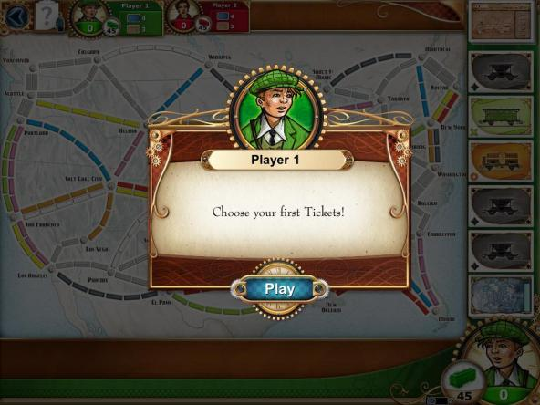 Ticket to Ride: Player 1 Start Screen