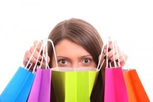 hiding behind shopping bags