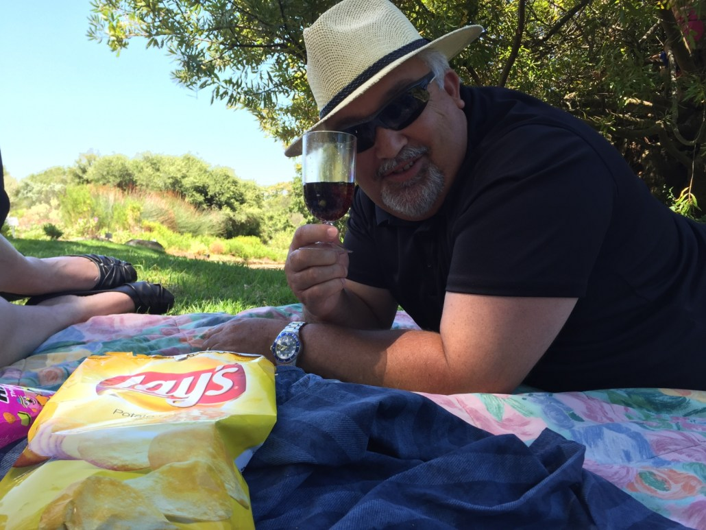 family picnic with wine
