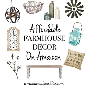 Affordable Farmhouse Decor on Amazon - Decorate your home with beautiful Farmhouse Decor on a Budget   www.mamabearbliss.com