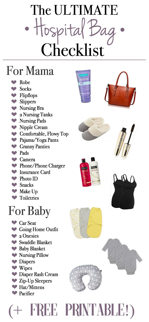 picture about Printable Hospital Bag Checklist known as The Supreme Clinic Bag Listing Mama Endure Bliss