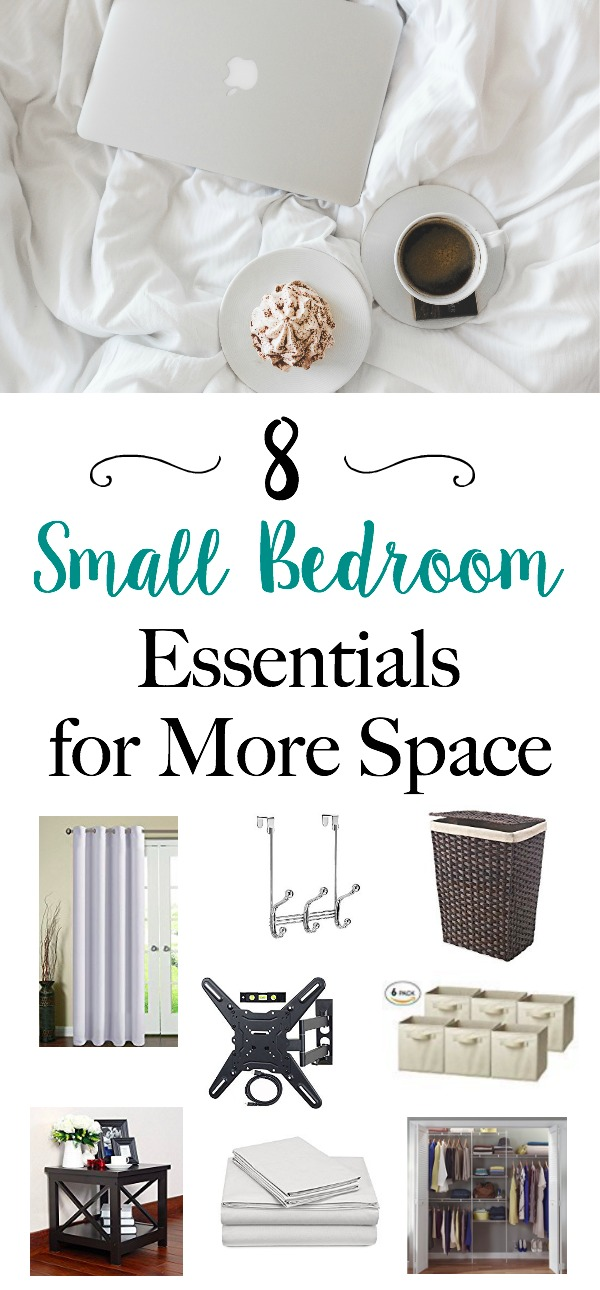 8 Small Bedroom Essentials for More Space - Bedroom ideas, organization and storage tips to make a small bedroom look bigger | www.mamabearbliss.com