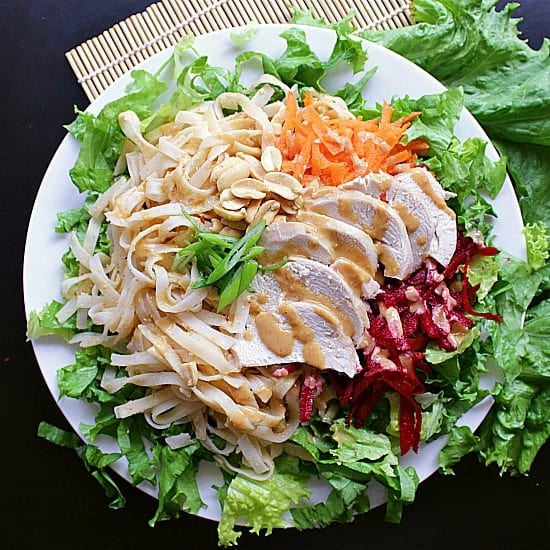 Peanut Chicken Salad drenched with Peanut Sauce. Mama Bear's Cook Book