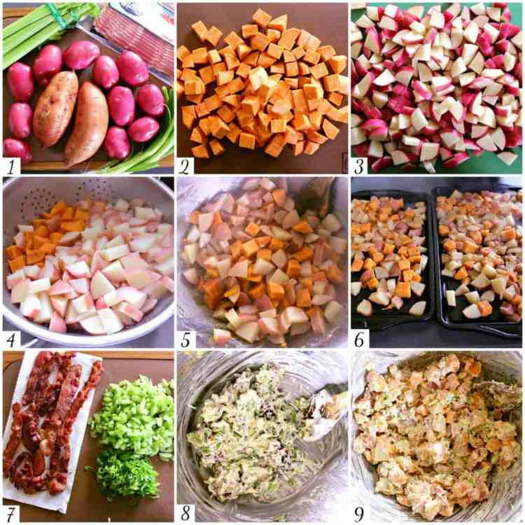 This delicious Yam and Red Potato Salad is drenched in a creamy vinaigrette and packed with crispy bacon.