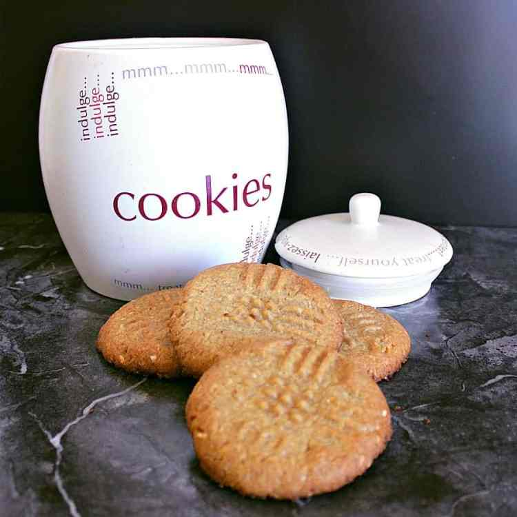 Low carb peanut butter cookies in a pile next to a cookie jar.