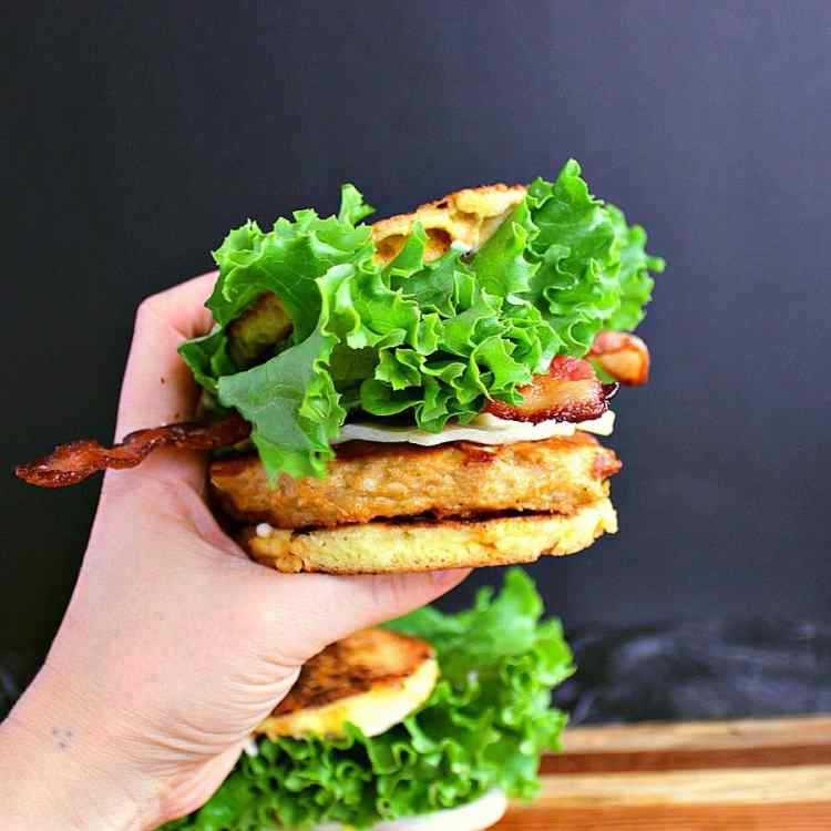Low carb turkey burger with cheddar, bacon and lettuce on a 90 second keto bread.