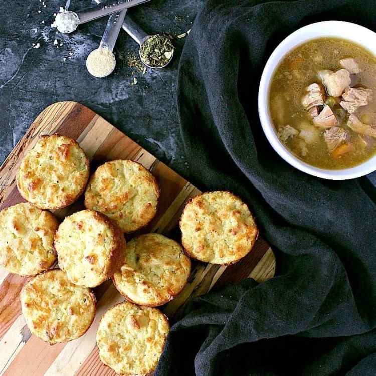 These Delicious Low Carb Biscuits with Cheddar take 15 minutes from start to finish and are the perfect side dish for chilli, soup, stew and chowder.