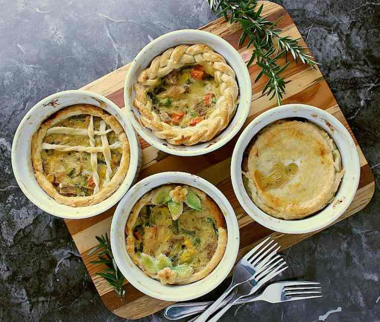 Individual Turkey Pot Pies with four different crust toppings.
