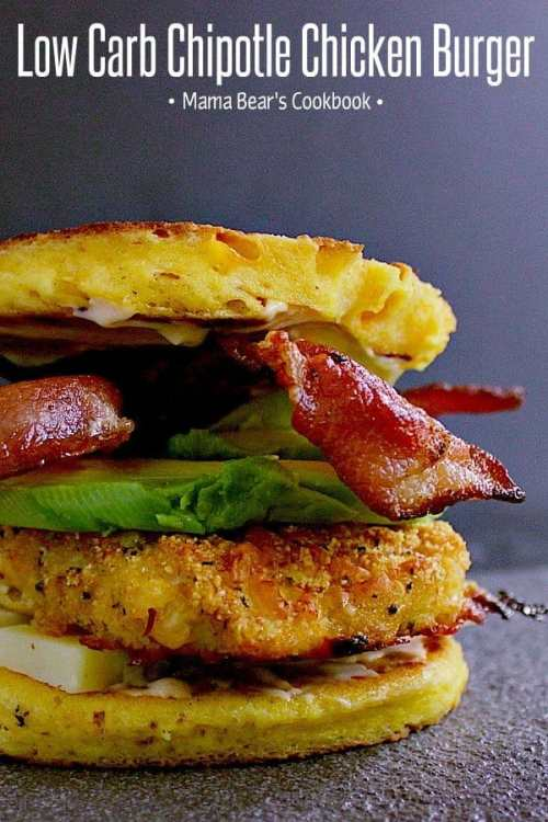 Deliciously breaded chipotle chicken burger loaded with aged cheddar, crisp bacon, thick sliced avocado all sandwiched together by a cheesy 90 second keto bun. This Low Carb Chipotle Chicken Burger is sure to please! #lowcarb #keto #glutenfree #burger #mamabearscookbook