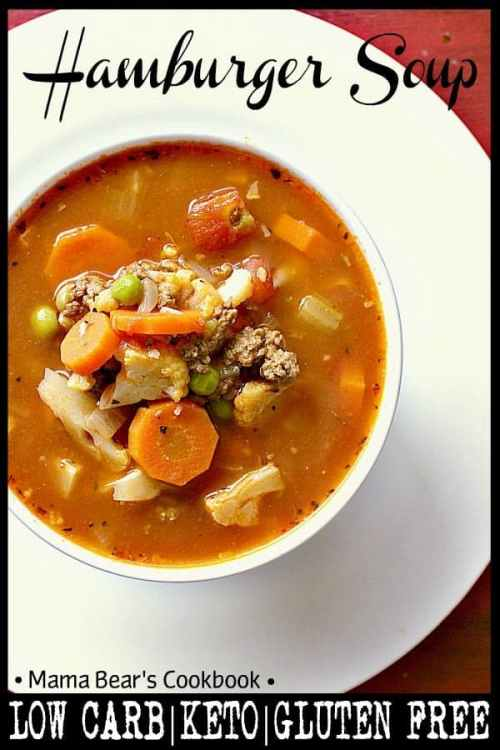 You won't miss the carbs in this delicious Low Carb Hamburger Soup. Loaded with cauliflower and tomatoes, this hot bowl of yumminess will be the guilt free delight of your day. #soup #hamburger #lowcarb #keto #mamabearscookbook