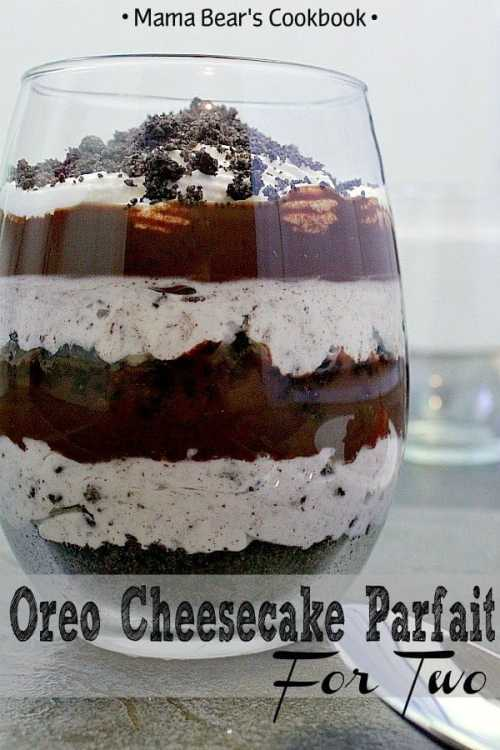 Get your romance on this Valentine's Day with a delicious Oreo Cheesecake Parfait for Two. Layer upon layer of chocolate and Oreo goodness combine to make an epic romantic dessert for two. #oreo #cheesecake #romantic #dessert #mamabearscookbook