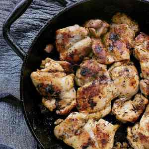 These delicious Pan Fried Chicken Thighs are packed with flavour and are quick and easy to throw together for a stress free weeknight dish.