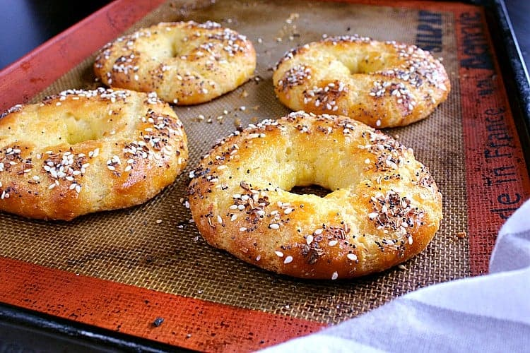 Bagels fresh from the oven.