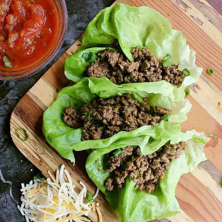 Low Carb Tacos in lettuce wraps.