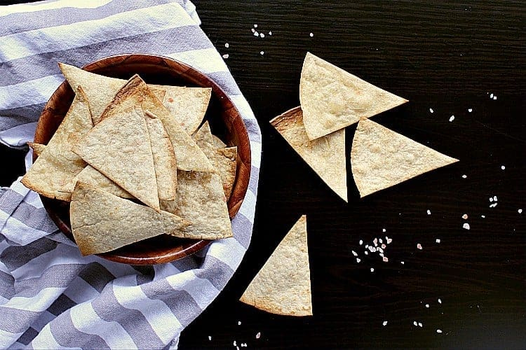 A bowl of low carb baked tortilla chips.