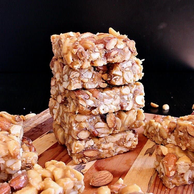 Stack of low carb nut bars.