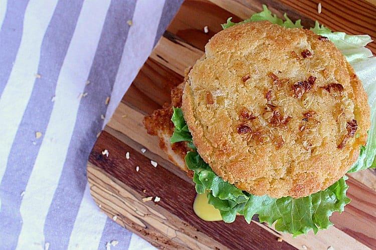 Crispy Keto Chicken Burger with Keto Honey Mustard on a Low Carb Onion Bun.
