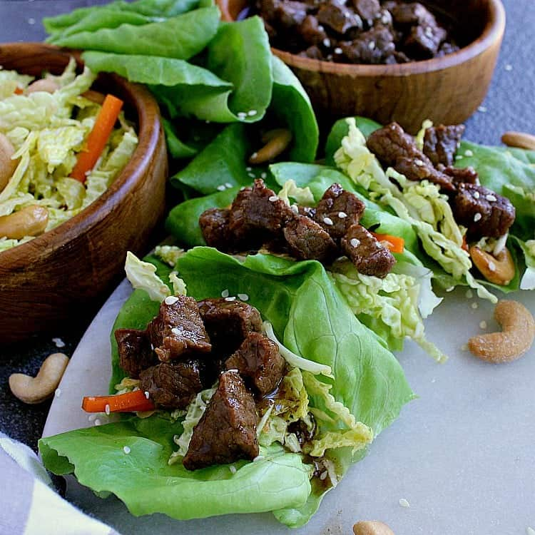 butter lettuce leaves filled with korean beef and low carb asian slaw.