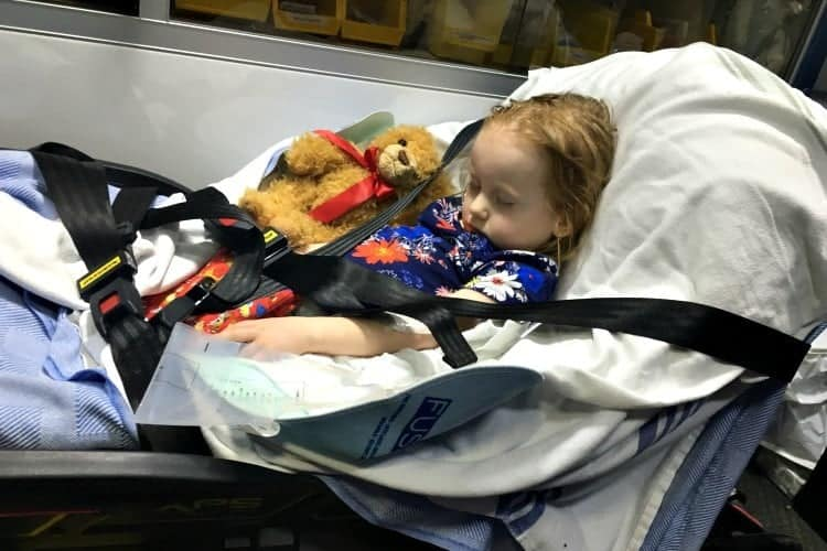 Zoey in the ambulance, strapped to a gurney, fevering out of control.