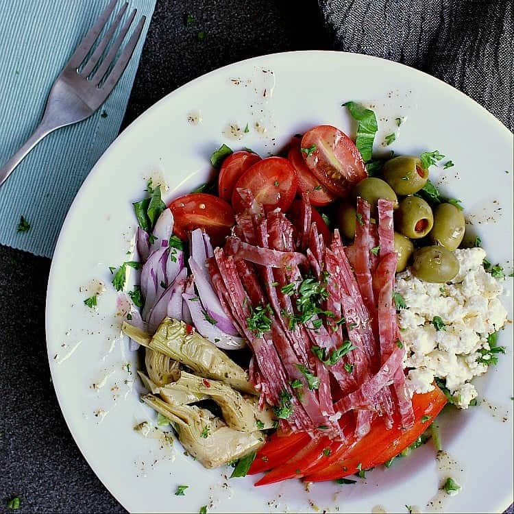 One salad bowl of Italian Chopped Salad.