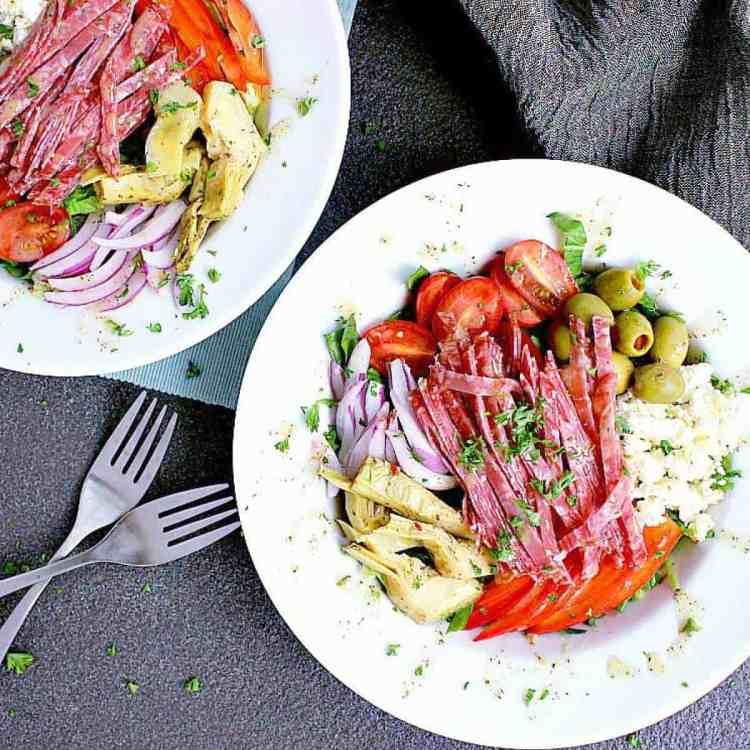 Two salad bowls of Italian Chopped Salad.